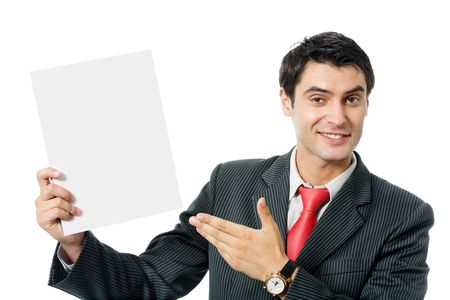 Happy smiling businessman showing blank signboard, isolated on white background photo