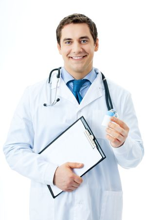 Happy smiling doctor with medicament and clipboard, isolated on white photo