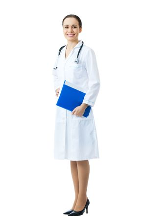Full body portrait of female doctor or nurse with blue folder, isolated on white background Stock Photo - 8228273