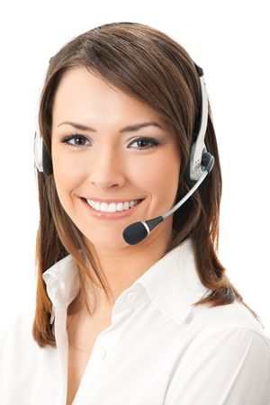 operators: Portrait of happy smiling cheerful support phone operator in headset, isolated on white background