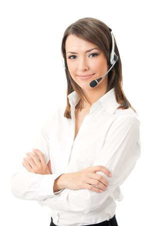 Portrait of happy smiling cheerful support phone operator in headset, isolated on white background photo