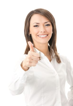 human thumb: Happy smiling businesswoman with thumbs up gesture, isolated on white background
