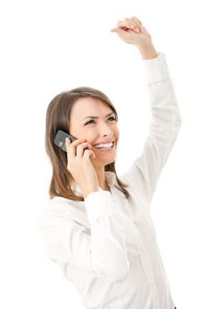 whitebackground: Happy smiling successful gesturing businesswoman with cell phone, isolated on white background