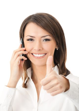 secretary phone: Happy smiling successful businesswoman with cell phone and thumbs up gesture, isolated on white background
