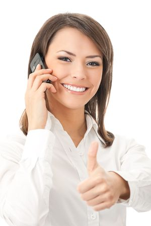 Happy smiling successful businesswoman with cell phone and thumbs up gesture, isolated on white background Stock Photo - 8265950
