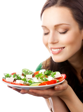 Portrait of happy smiling woman with plate of salad, isolated on white background Stock Photo - 8343933