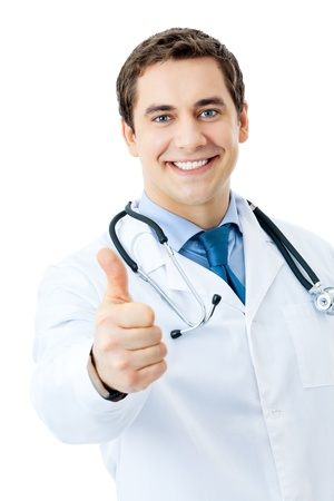 happy doctor: Happy smiling doctor with thumbs up gesture, isolated on white background Stock Photo