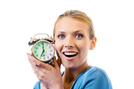 Young woman with alarmclock, isolated on white Stock Photo - 8343955
