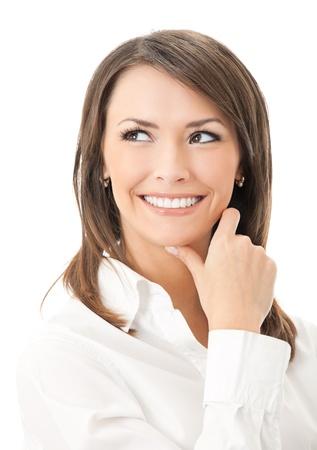 Portrait of happy smiling thinking businesswoman, isolated on white background Stock Photo - 8579646