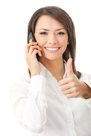 Happy smiling successful businesswoman with cell phone and thumbs up gesture, isolated on white background Stock Photo - 8579656