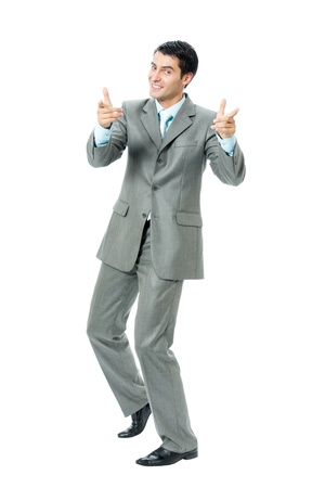 Great: Very happy successful gesturing businessman, isolated on white background