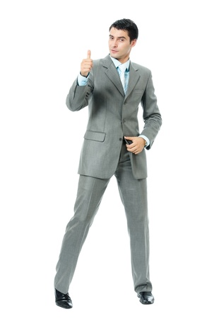 Very happy successful gesturing businessman, isolated on white background Stock Photo - 8579705