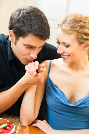 Portrait of young happy smiling amorous couple at home Stock Photo - 8697478