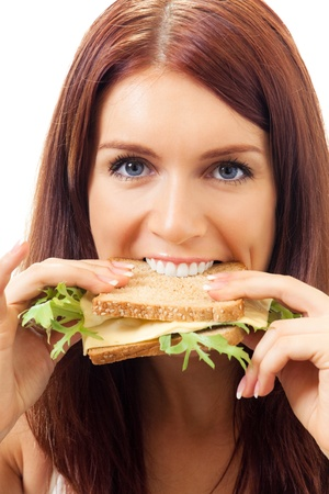 gluttonous: Hungry gluttonous woman eating sandwich with cheese, isolated on white background Stock Photo