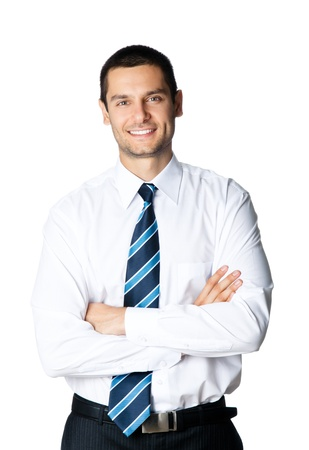 whitebackground: Portrait of happy smiling young businessman, isolated on white background