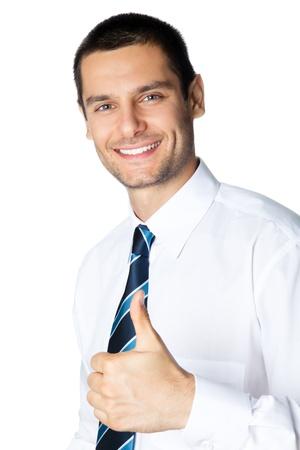 gestos: Feliz empresario sonriente con pulgares arriba gesto, aislados en fondo blanco