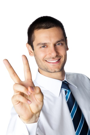 Portrait of happy smiling businessman showing two fingers, isolated on white background Stock Photo - 8876683