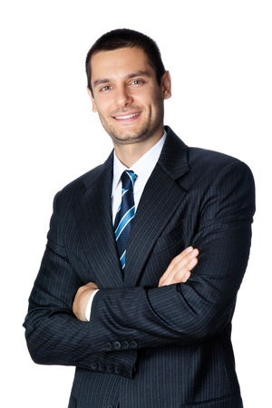 1 man only: Portrait of happy smiling young businessman, isolated on white background