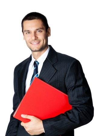 whitebackground: Portrait of happy smiling young businessman with red folder, isolated on white background Stock Photo