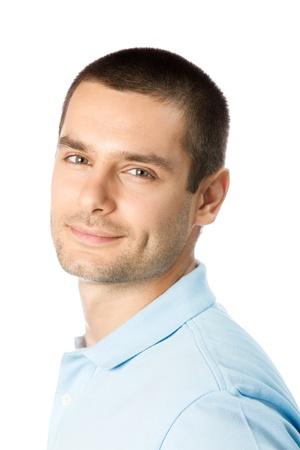 persona mayor: Retrato de hombre joven sonriente feliz, aislado sobre fondo blanco
