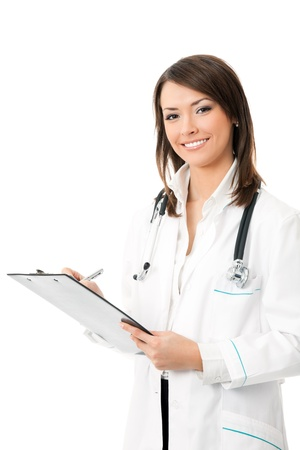 practitioner: Happy smiling female doctor writing on clipboard, isolated on white background