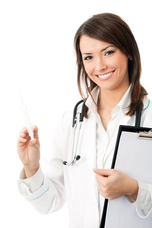 Female doctor or nurse with syringe and clipboard, isolated on white background photo