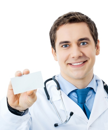 Happy smiling doctor showing business card, isolated on white background Stock Photo - 9153248