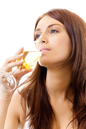 Young woman with glass of champagne, isolated on white background photo