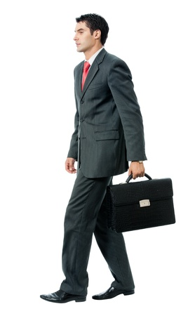 important people: Businessman with briefcase, isolated on white background Stock Photo