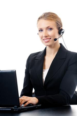call center agent: Ritratto di felice operatore sorridente allegro assistenza telefonica in cuffia, isolato su sfondo bianco Archivio Fotografico