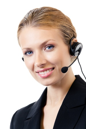 handsfree phone: Portrait of happy smiling cheerful support phone operator in headset, isolated on white background