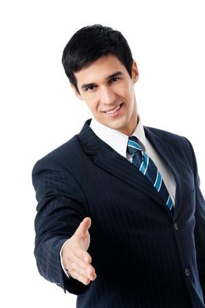 Jeune homme d'affaires heureux donnant la main pour poign?e de main, isol? sur fond blanc