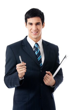 Happy smiling young business man with clipboard giving a pen, isolated on white background photo