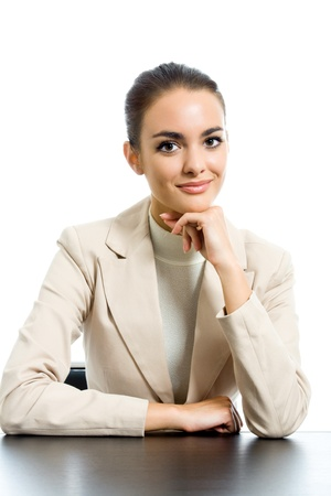 executive assistants: Portrait of happy smiling business woman, isolated on white background
