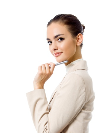 Young happy smiling businesswoman with a pen, isolated on white background photo