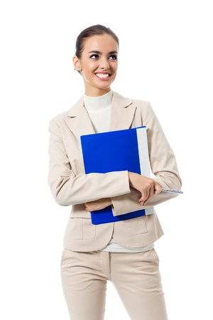 Portrait of young happy smiling businesswoman with blue folder, isolated on white background Stock Photo - 9578864