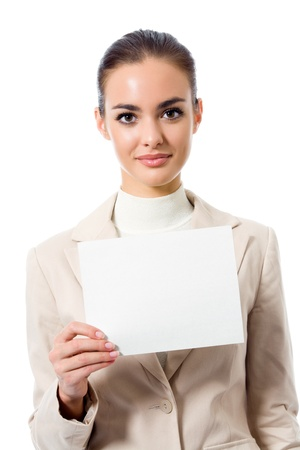 Happy young business woman showing blank signboard, isolated on white background Stock Photo - 9578873