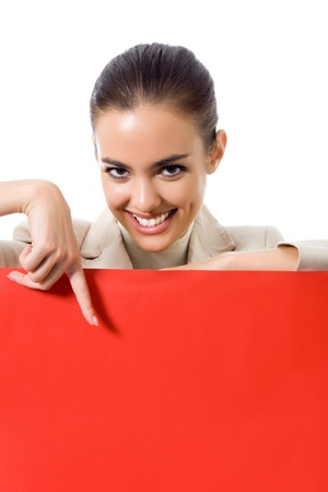 advertising board: Happy young business woman showing blank red signboard, isolated on white background