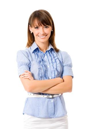 teacher: Retrato de mujer feliz de negocios sonriente, aislada en fondo blanco Foto de archivo