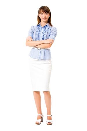 mujer cuerpo entero: Retrato de cuerpo entero de feliz sonriente mujer de negocios, aislada sobre fondo blanco Foto de archivo