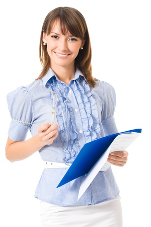 beautiful teacher: Happy smiling cheerful young business woman with documents, isolated on white background Stock Photo