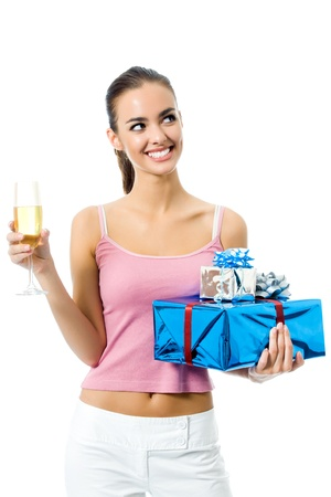 Young smiling woman with gift and champagne, isolated on white background photo