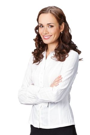 Portrait of happy smiling business woman, isolated on white background Stock Photo - 9895573