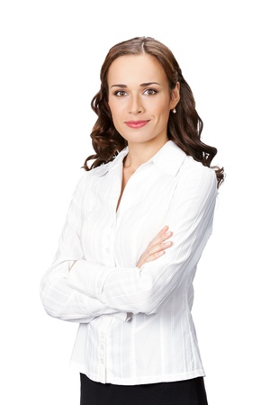 whitebackground: Portrait of happy smiling business woman, isolated on white background