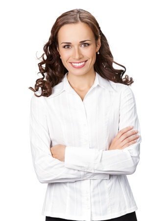 Portrait of happy smiling business woman, isolated on white background Stock Photo - 9895628