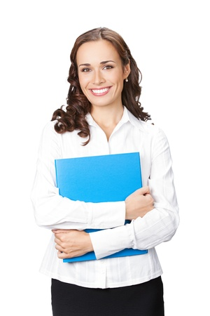 Portrait of young happy smiling businesswoman with blue folder, isolated on white background photo