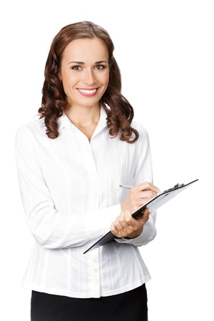 Happy smiling young businesswoman with clipboard writing, isolated on white background photo