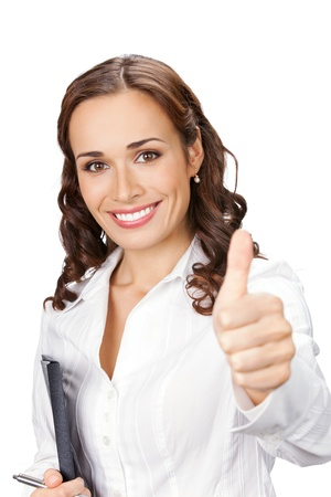 thumbs up: Happy smiling business woman with thumbs up gesture and folder, isolated on white background