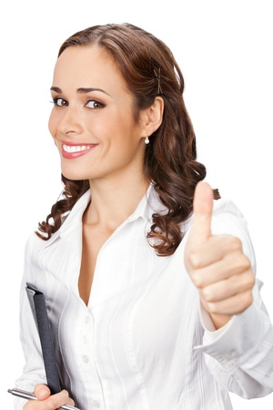 Happy smiling business woman with thumbs up gesture and folder, isolated on white background Stock Photo - 9895654