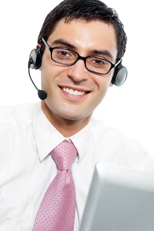 Portrait of happy smiling cheerful support phone operator in headset, isolated on white background Stock Photo - 9895972
